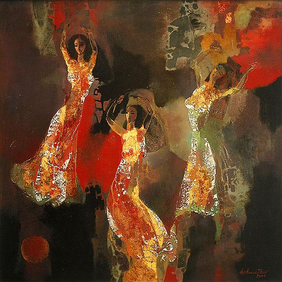 Ho-Huu-Thu,-Dance,-Lacquer-on-Wood,-100-x-100-cm,-2004