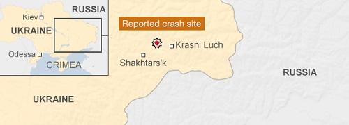 Vị trí máy bay rơi ở địa phận Ukraine