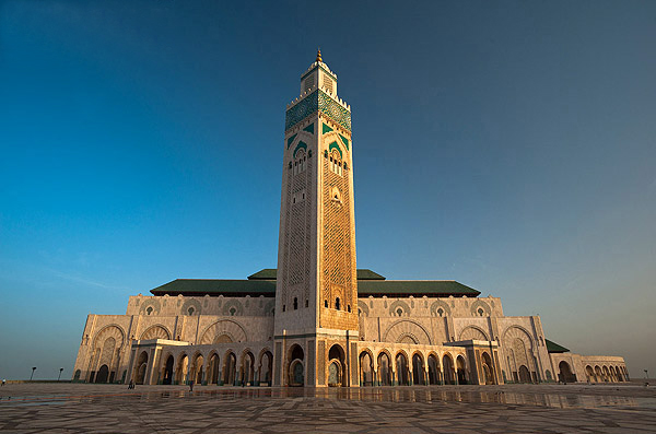 Hassan II mosque at dawn