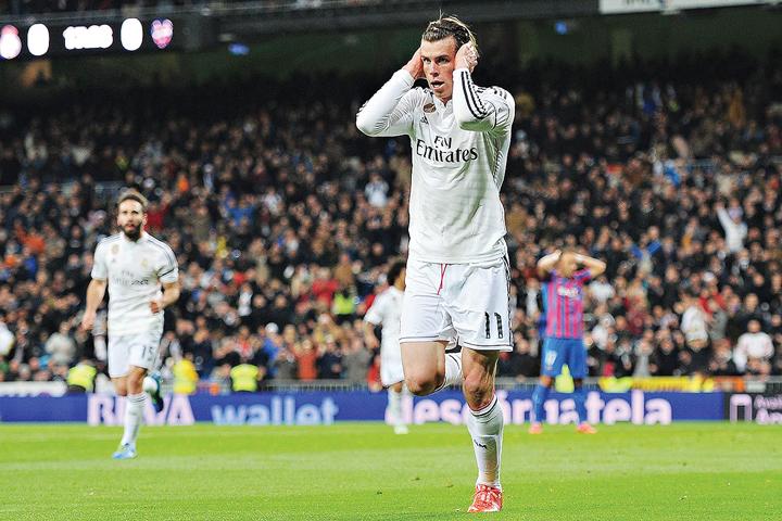 Pha ăn mừng của Gareth Bale trong trận Real Madrid thắng Levante 2-0 ngày 16-3