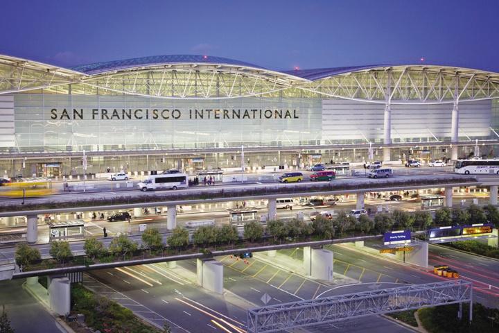 San Francisco International Airport at dusk
