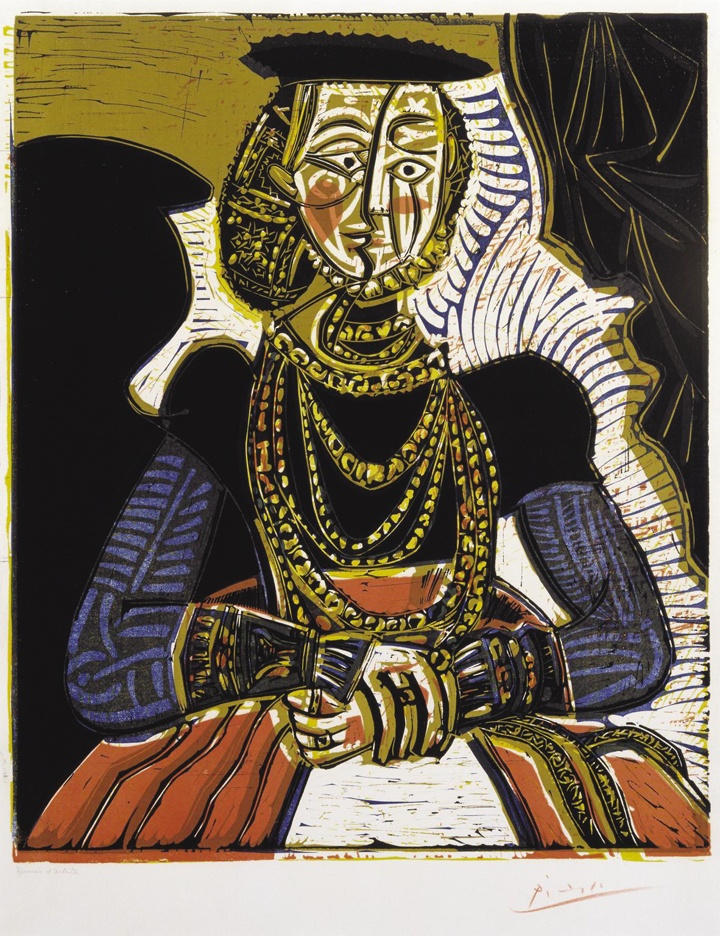Portrait of a Woman after Cranach the Younger 1958 Pablo Picasso 1881-1973 Bequeathed by Elly Kahnweiler 1991 to form part of the gift of Gustav and Elly Kahnweiler, accessioned 1994 http://www.tate.org.uk/art/work/P11368