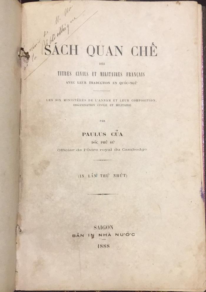 Quyển Sách quan chế của Paulus Của in năm 1888