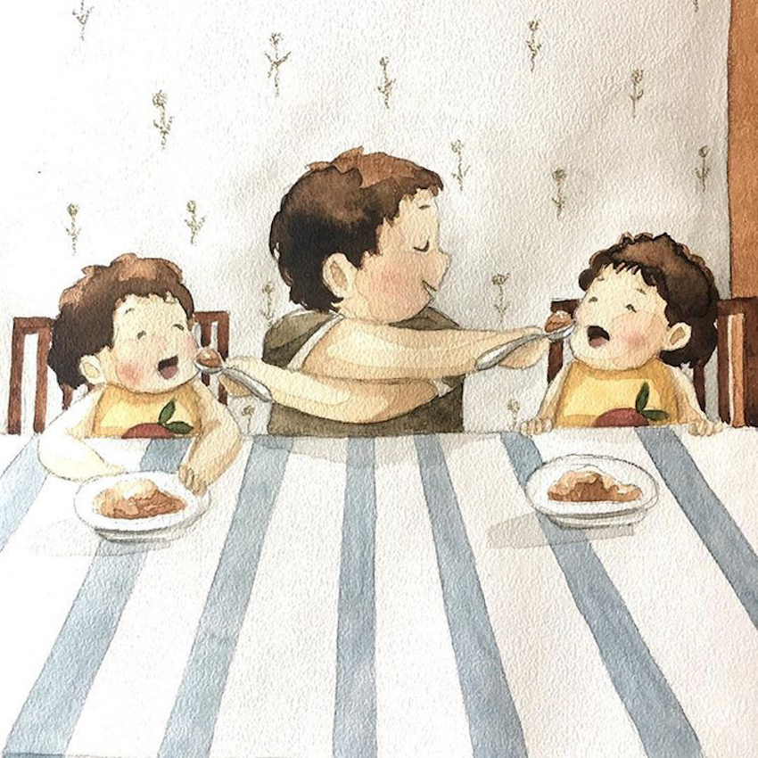 Hạnh phúc gia đình giản dị qua bộ ký họa dễ thương