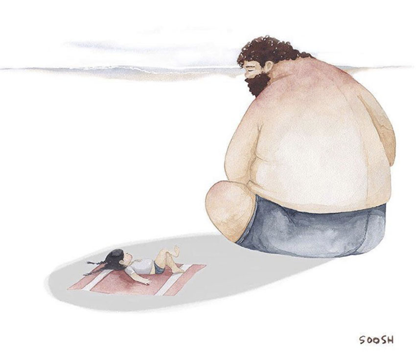 Bộ tranh vẽ Cha và con gái nhỏ