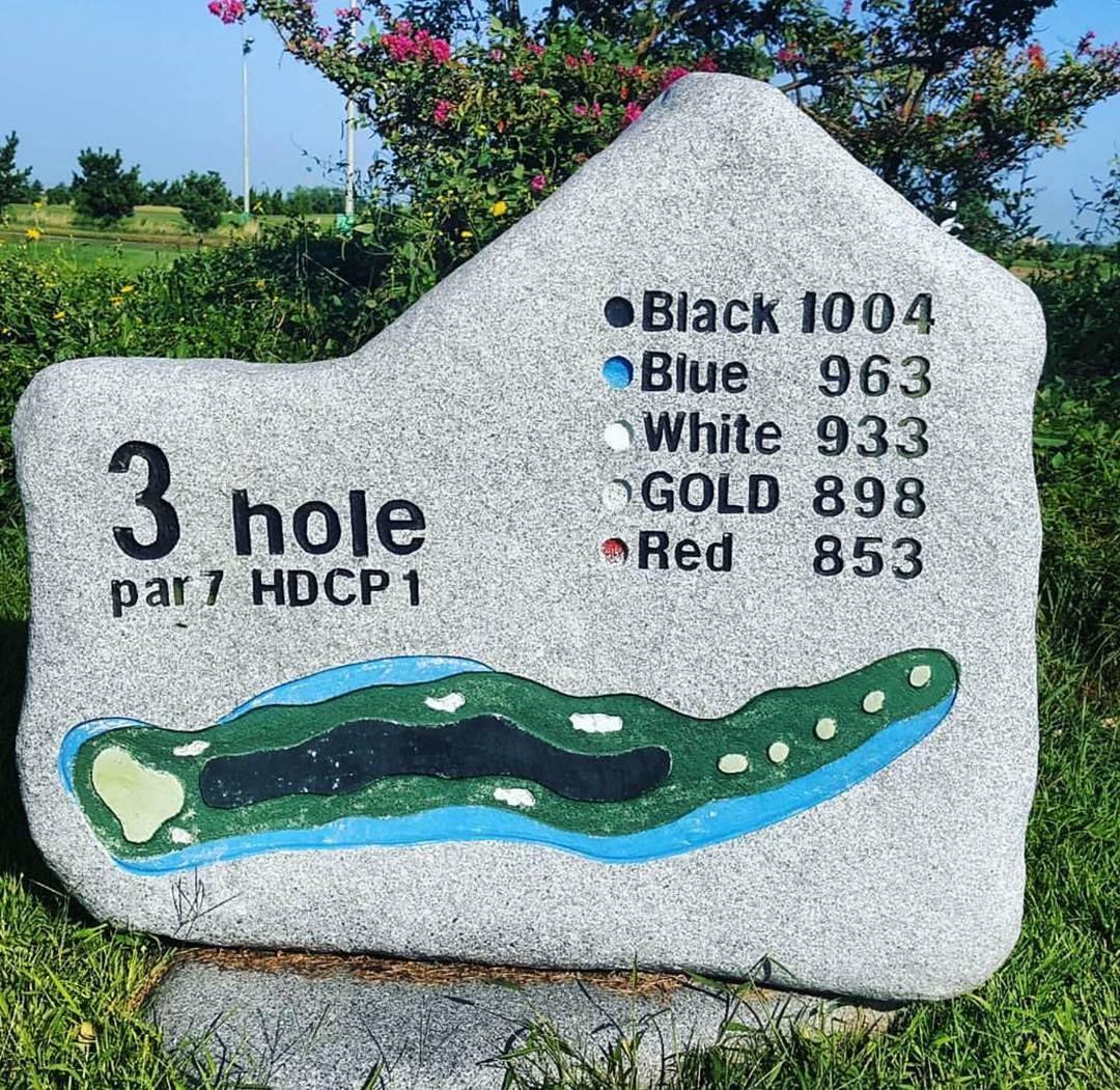 Hố golf PAR7 dài hơn 1km ở Gunsan Country Club.