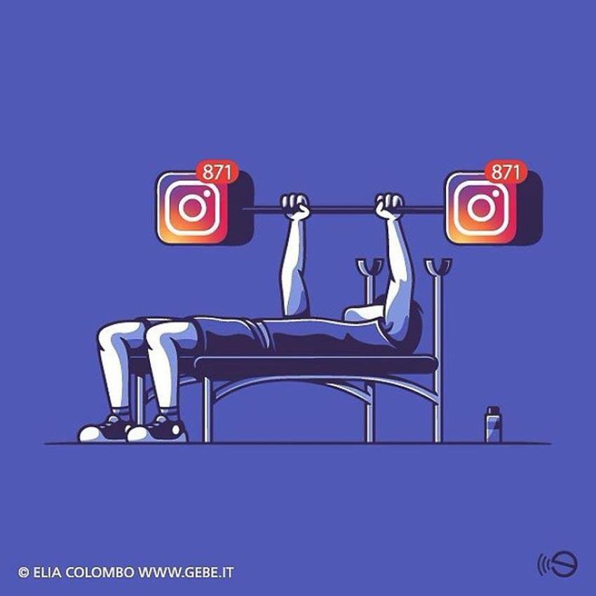Biếm họa về thói quen dùng mạng xã hội của con người 7