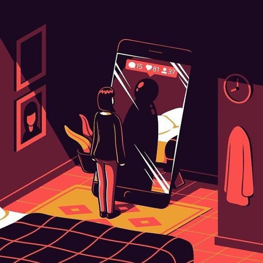 Biếm họa về thói quen dùng mạng xã hội của con người 8