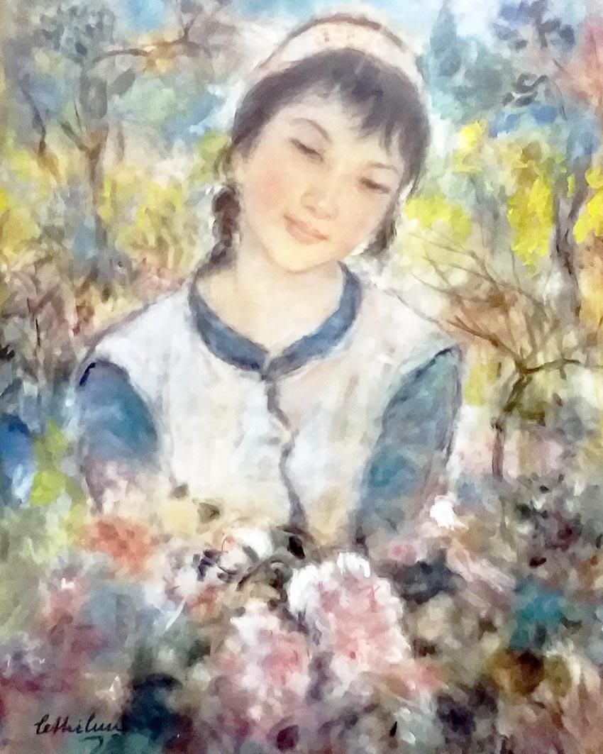Sơn nữ - tranh lụa của họa sĩ Lê Thị Lựu, 1980-1982