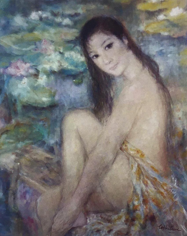 Tác phẩm Thiếu nữ tắm hồ sen, tranh lụa, khoảng 1971 - 1972.