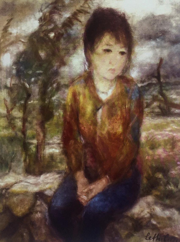 Tác phẩm Dông tố, tranh lụa, khoảng 1980.