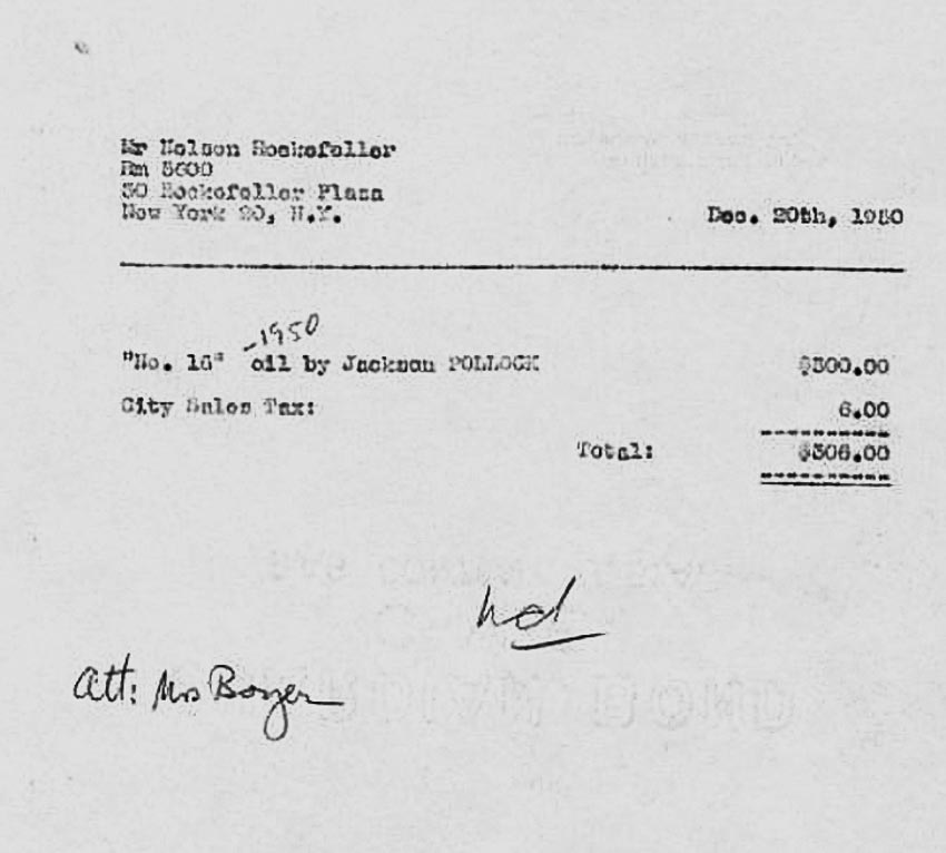 Hóa đơn mua tranh với giá 306 USD năm 1950 vẫn còn được lưu giữ cẩn thận