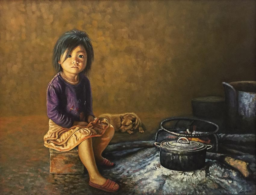 Ở nhà một mình - tranh sơn dầu của Nguyễn Đinh Duy Quyền