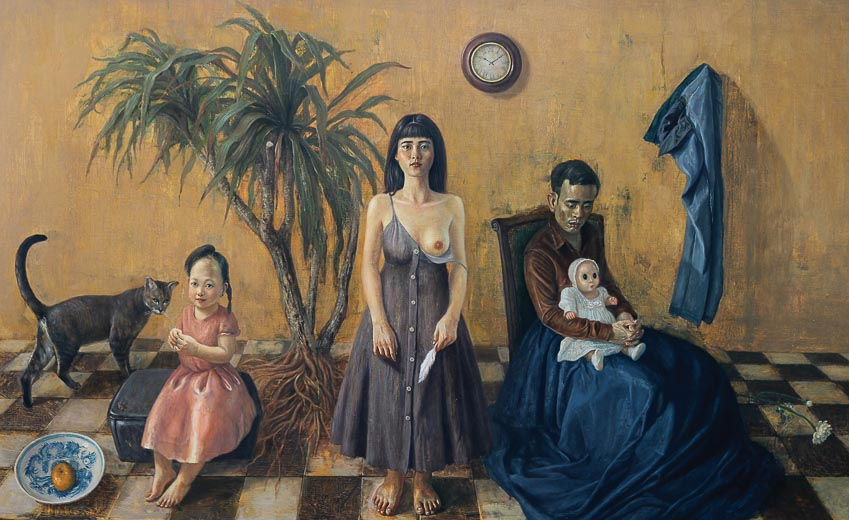 Cô gái với chiếc lông ngỗng - tranh sơn dầu của Vũ Ngọc Vĩnh