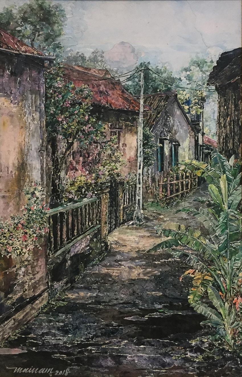 Hẻm nhỏ vùng ven Sài Gòn - tranh Mai Nam