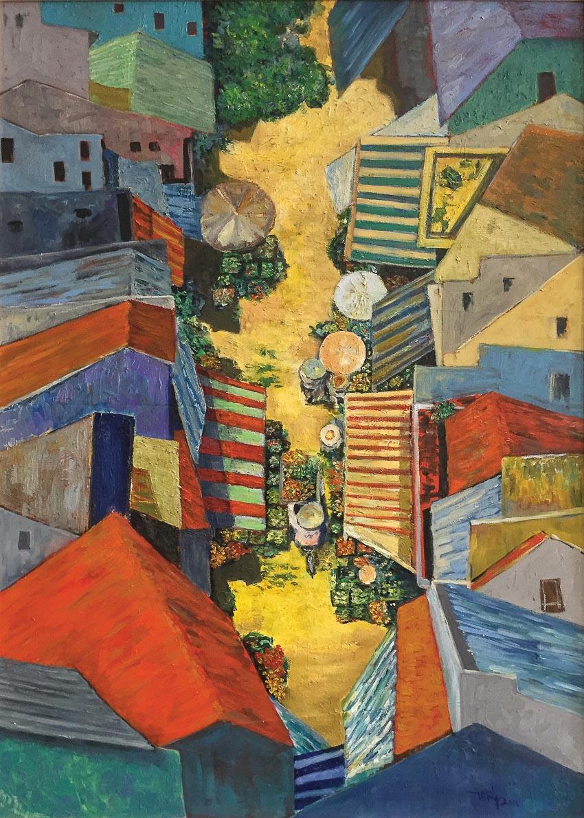 Chợ trưa - tranh sơn dầu Thống Nguyễn