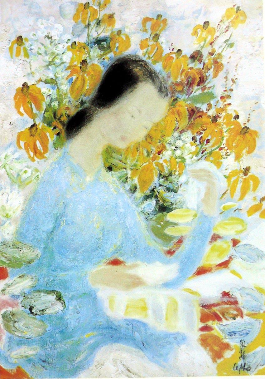 Hoa và thiếu nữ - Lê Phổ