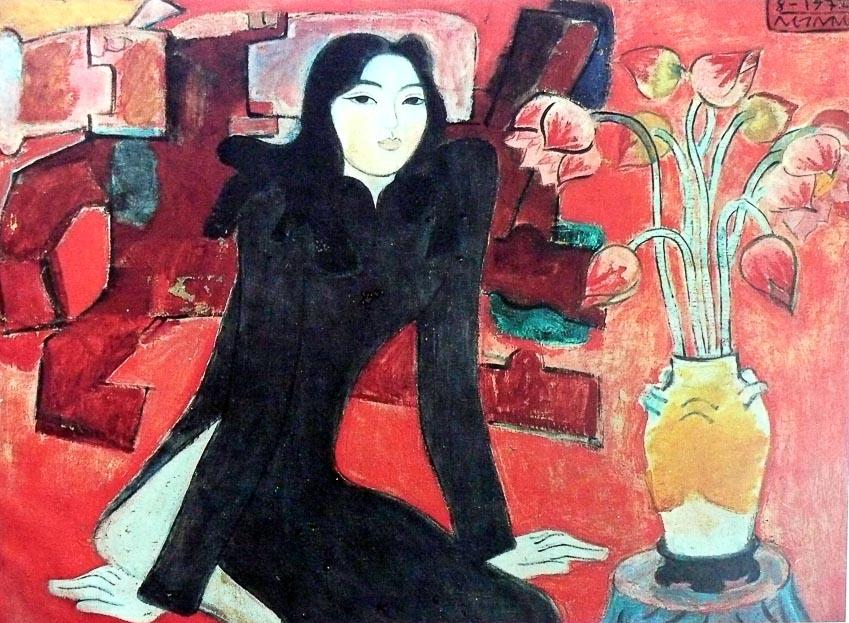Thiếu nữ và hoa sen (sơn dầu) - Nguyễn Sáng