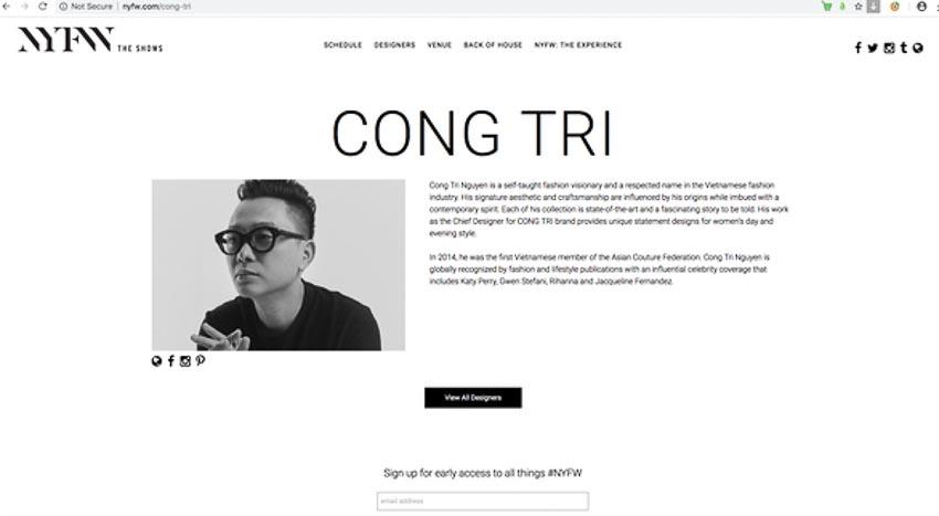 Nguyễn Công Trí được mời tham gia Tuần lễ Thời trang New York 2019 3