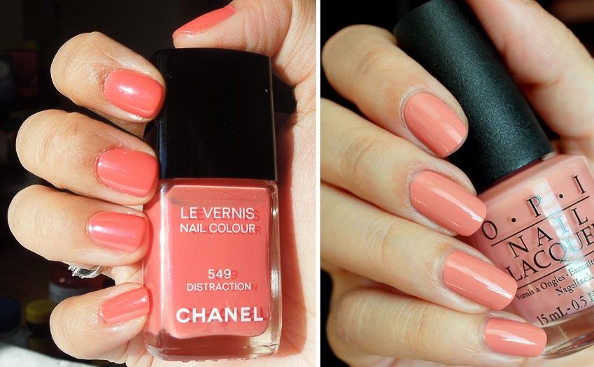 Sơn màu hồng đào của Chanel và O.P.I