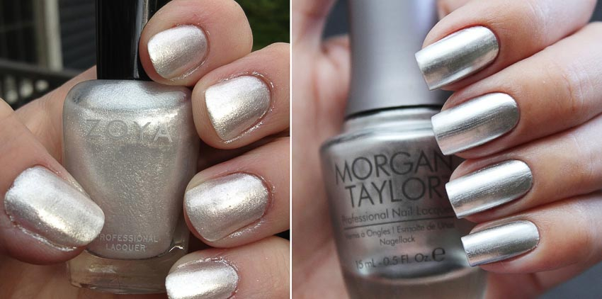 Sơn màu trắng bạc của Morgan Taylor và Zoya
