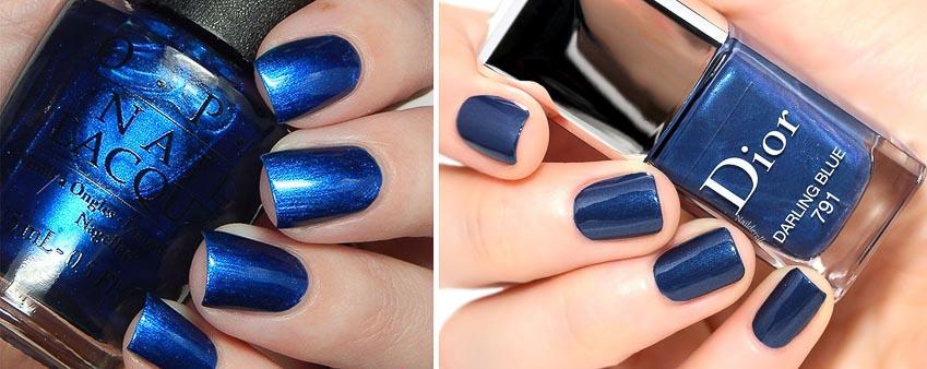 Sơn màu xanh dương có ánh nhũ của O.P.I và Dior