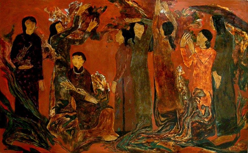 Đêm trừ tịch - Võ Nam (tranh sơn mài)