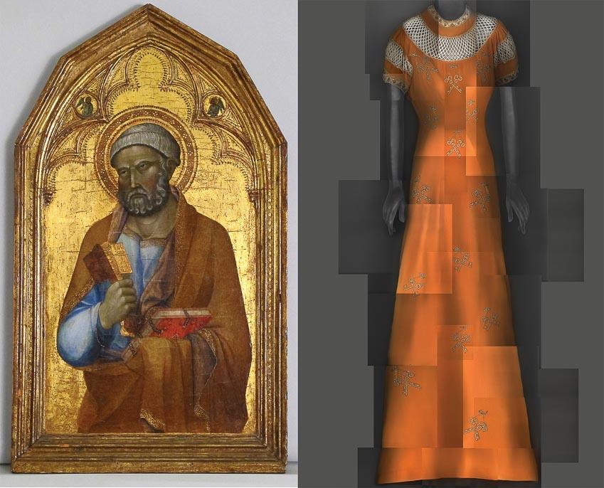 Thánh Peter, tranh của môn đệ họa sĩ bậc thầy Lippo Memmi, được sáng tác vào giữa thế kỷ 14; bên cạnh là trang phục của nhà tạo mốt Elsa Schiaparelli, thực hiện vào mùa hè 1939