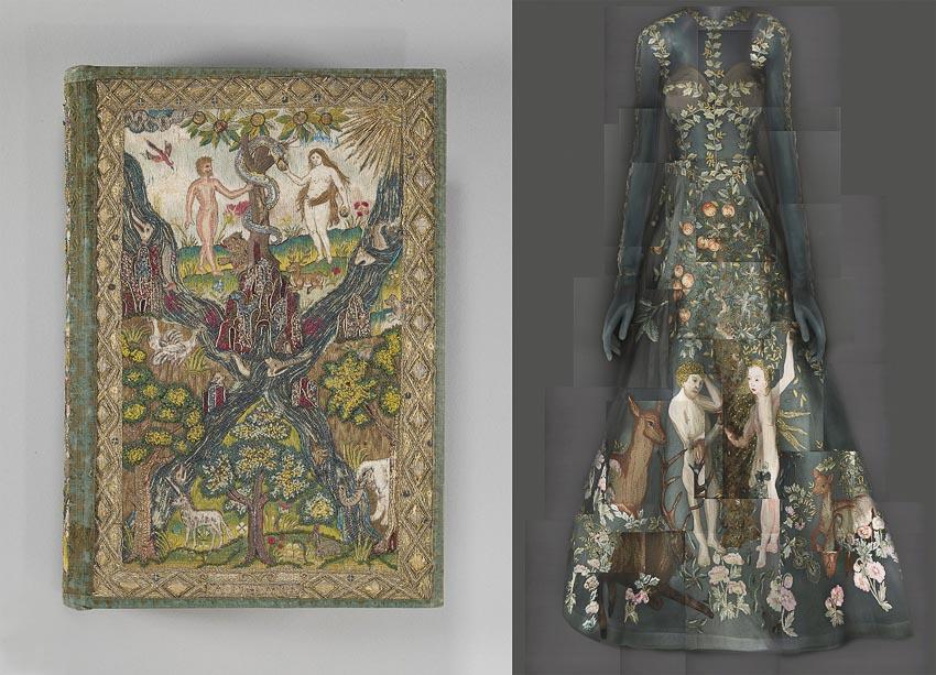 Một tranh thể hiện Adam và Eva trên bìa Thánh kinh xuất bản tại Anh năm 1607, bên cạnh là thời trang của nhà Valentino, mùa xuân năm 2014