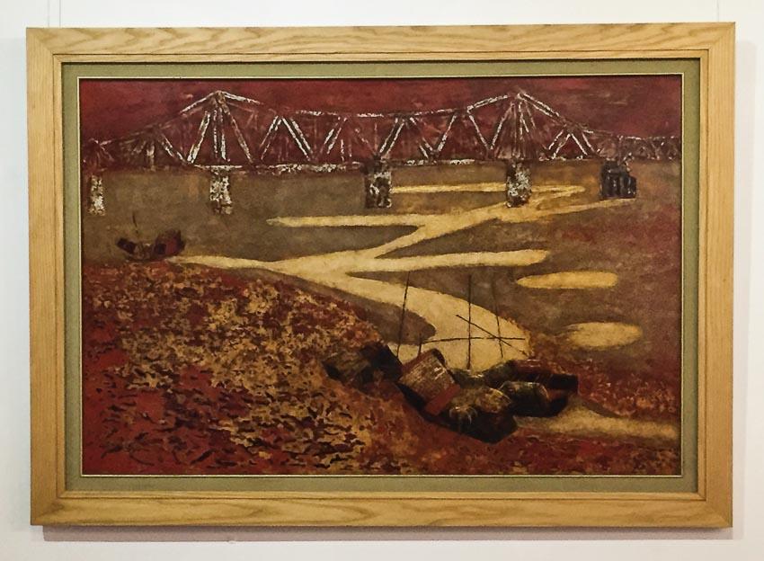 Cầu Long Biên - tranh sơn mài