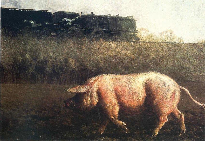 Heo và xe lửa - tranh của Jamie Wyeth: 541.000 USD