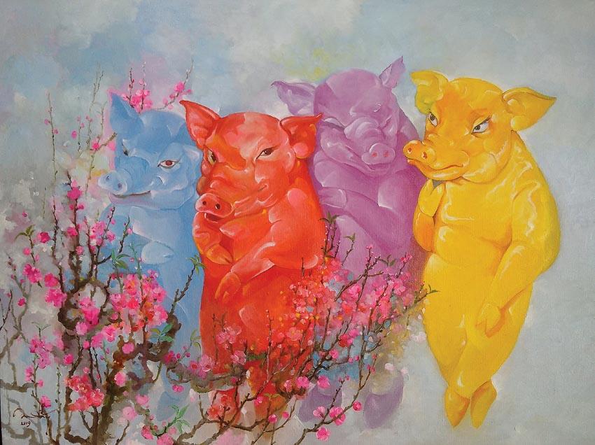 Xuân Kỷ Hợi - tranh sơn dầu của Đặng Thu An