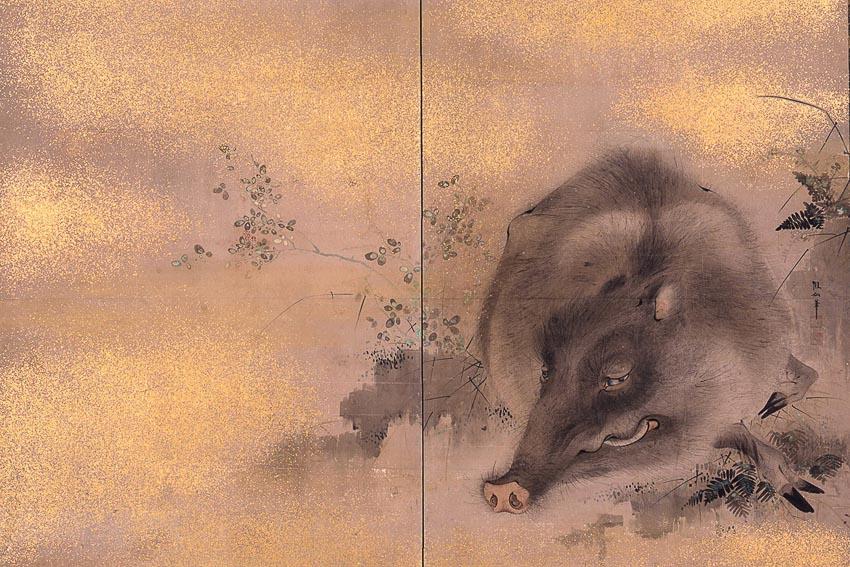 Heo rừng - tranh lụa của họa sĩ Nhật Mori Sosen (1747-1821) vốn nổi tiếng với tranh vẽ các loài thú hoang dã như khỉ, nai, heo rừng, công…