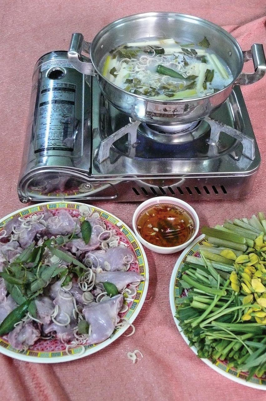 Chuột dừa nấu lẩu chua với bông điên điển