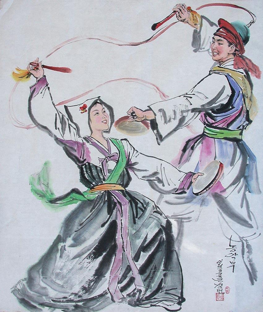Điệu múa dân gian - tác phẩm của họa sĩ nhân dân Kim Song Min, Phó chủ tịch xưởng sáng tác Mansudae