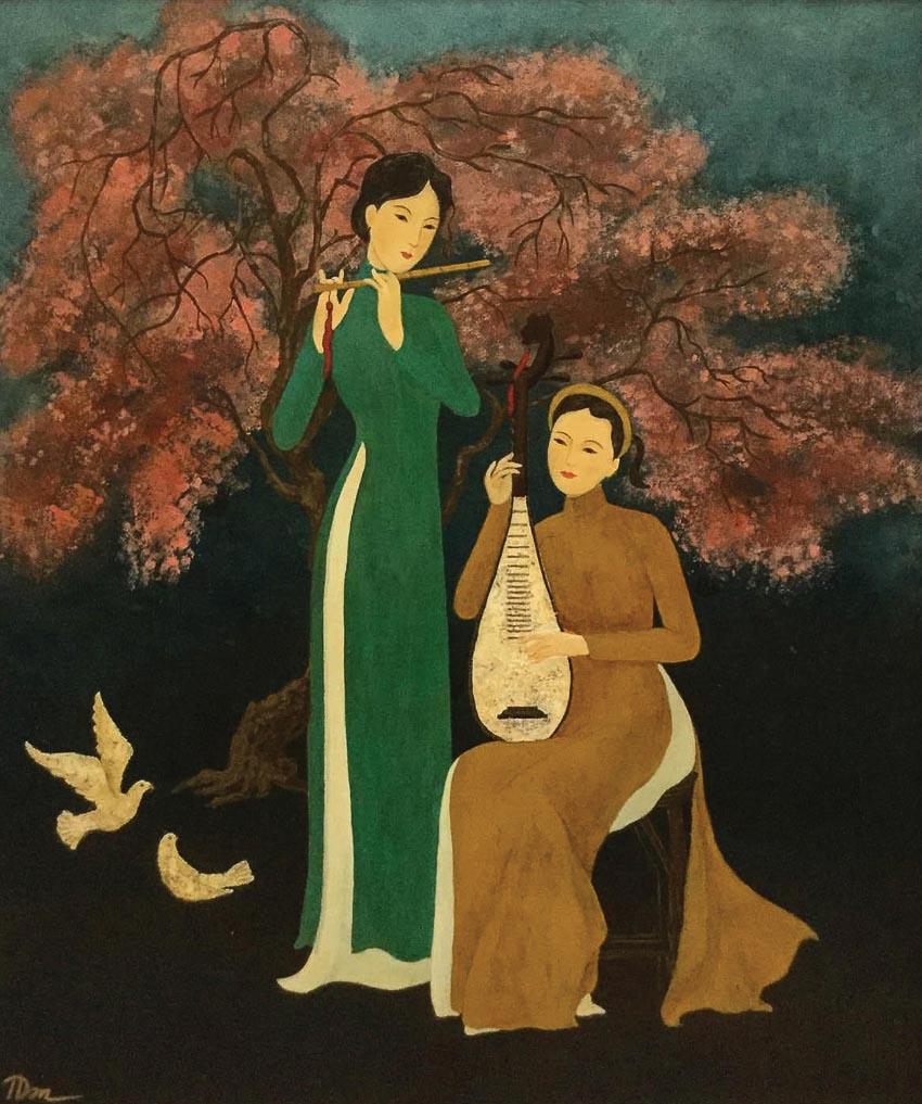 Khúc nhạc xuân - tranh lụa của Trịnh Tuấn Dân