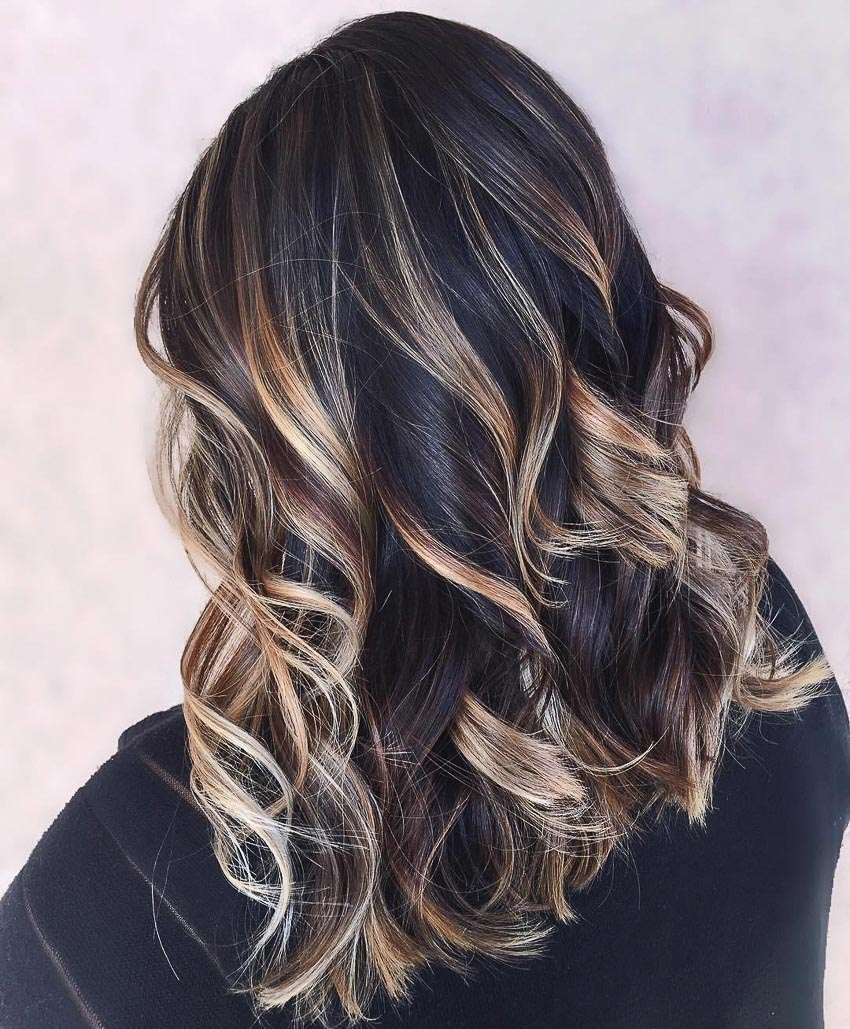 tóc nhuộm highlight xen kẽ