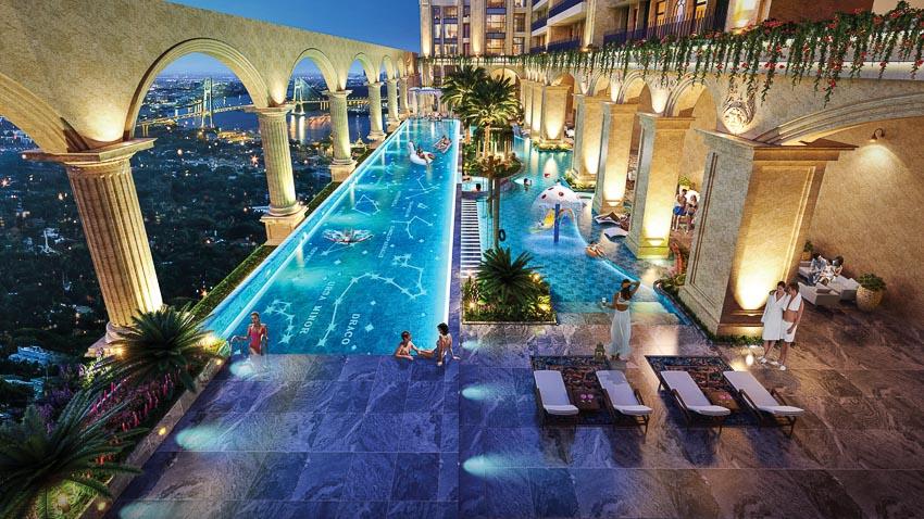 """Toàn bộ tầng 6 tòa thành Rome được thiết kế thành """"resort tại gia"""" với hồ bơi nước mặn vô cực tràn bờ rộng 1.100m2 và tổ hợp 16 tiện ích đẳng cấp khác"""