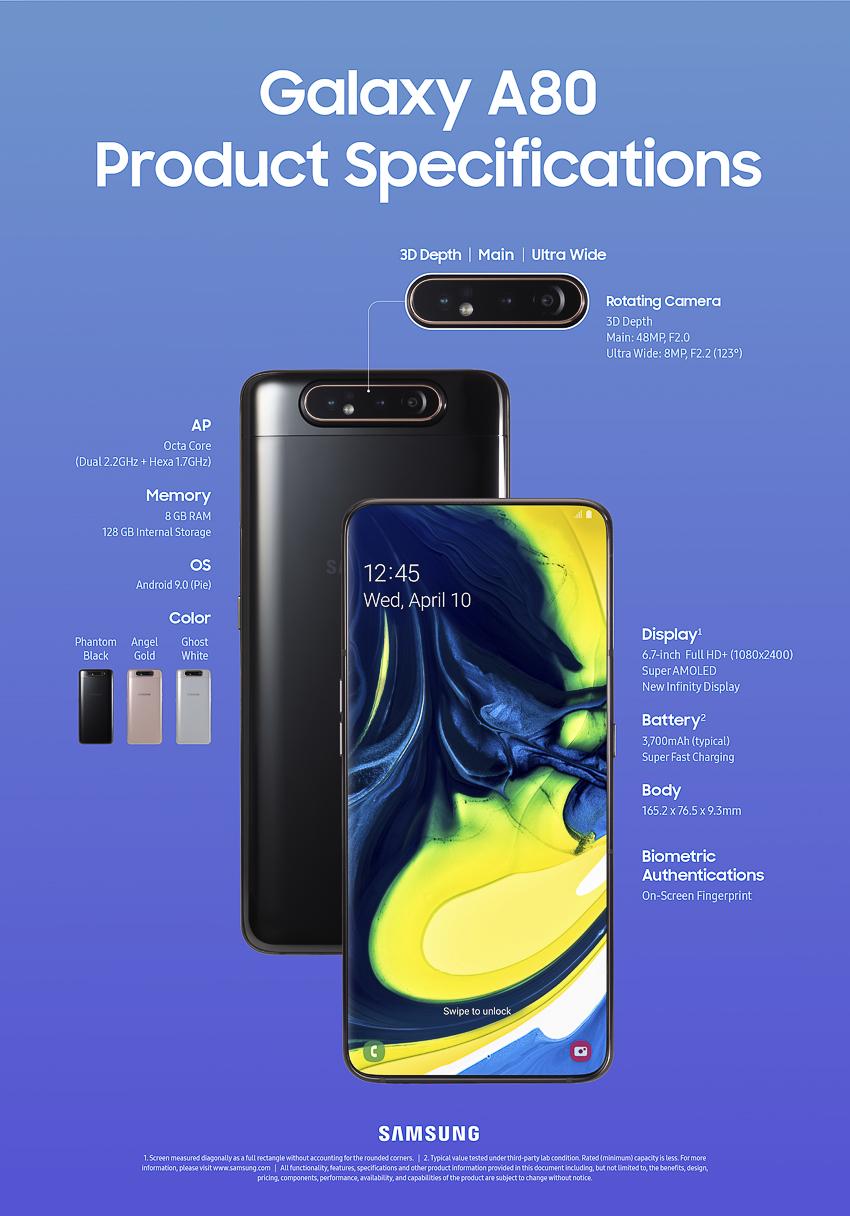 Samsung Galaxy A80 mới, màn hình vô cực với cụm 3 camera trượt và xoay - 010