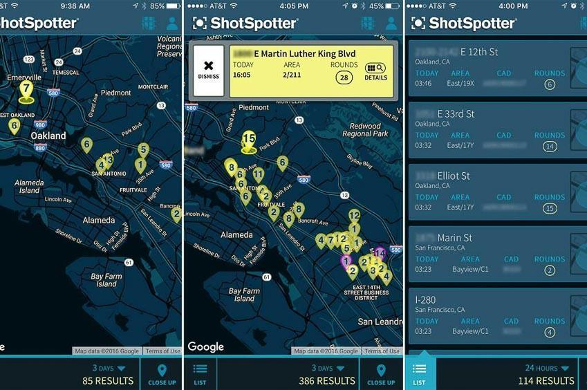 Hệ thống Shotspotter được trang bị từ 15 đến 20 cảm biến âm thanh