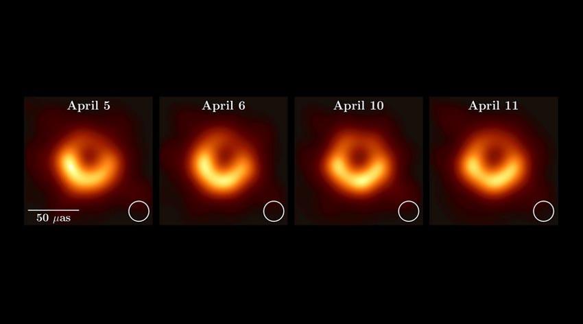 Hình ảnh hố đen vũ trụ tại trung tâm M87 được quan sát trong bốn ngày khác nhau vào năm 2017. Ảnh: EHT
