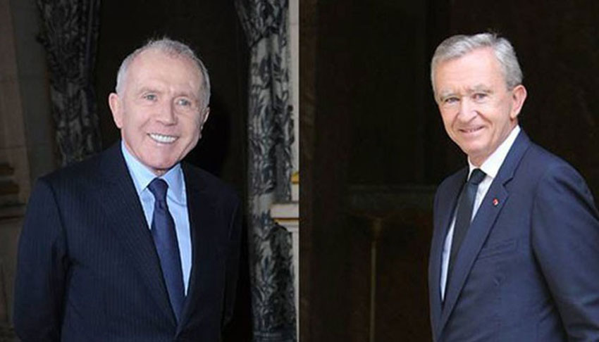 Hai tỷ phú Pháp Francois-Henri Pinault (trái) và Bernard Arnault.