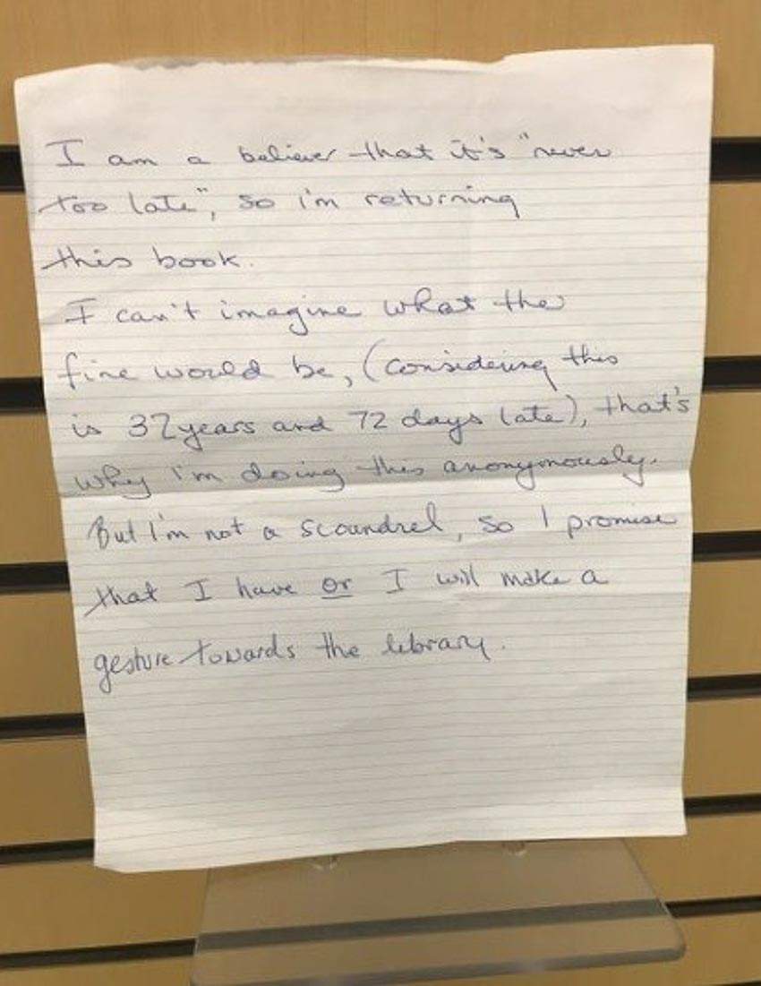 Sách trễ hạn 32 năm được trả cho Thư viện Toronto kèm lời xin lỗi giấu tên 2