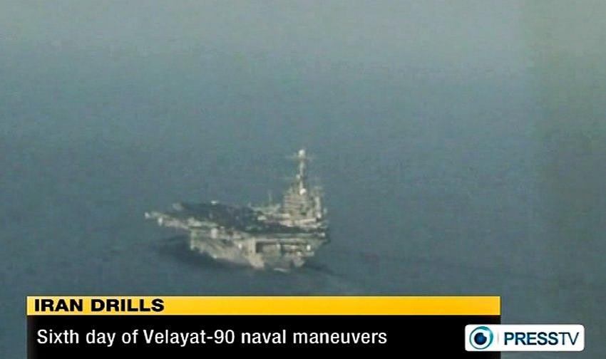 Kênh truyền hình tiếng Anh Press TV của Iran ngày 29.12.2011 cho thấy hình ảnh một tàu sân bay của Mỹ xuất hiện trong khu vực đang tập trận của hải quân Iran