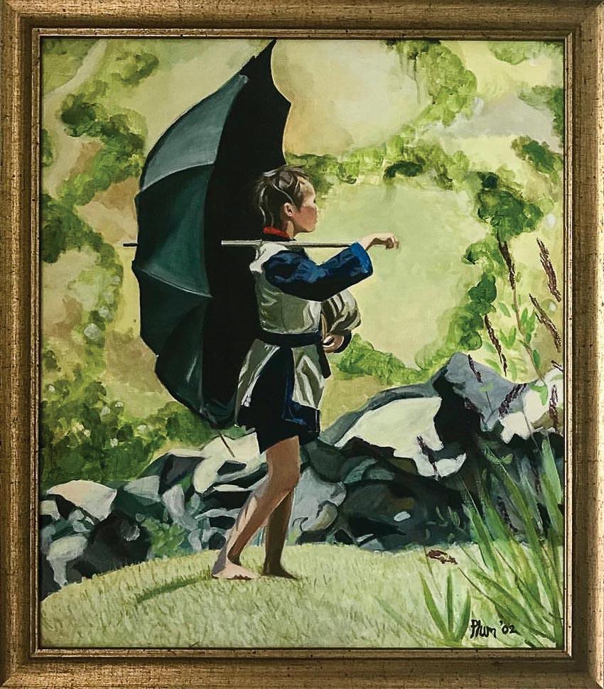 Cô bé che dù ở Sa Pa - tranh sơn dầu