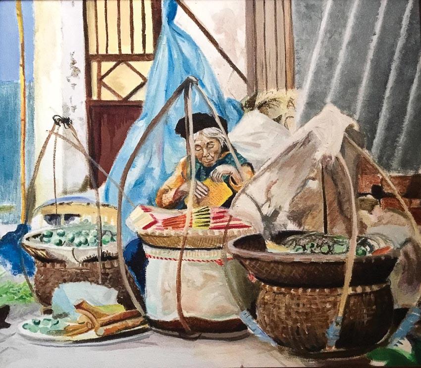 Gánh hàng rong Hà Nội - tranh sơn dầu