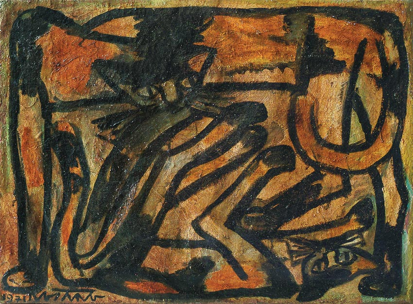 Đôi mèo tam thể - tranh sơn dầu trên vải của Nguyễn Sáng