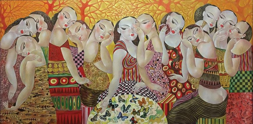 Bữa tiệc mùa xuân - tranh sơn dầu của Nguyễn Đức Huy (Huế)