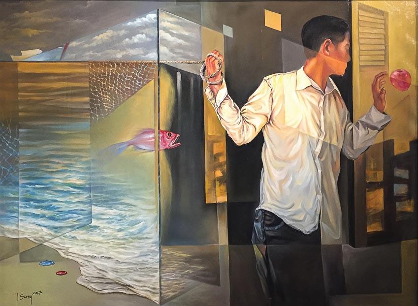 Giữ đường chân trời - tranh sơn dầu của Nguyễn Lương Sáng