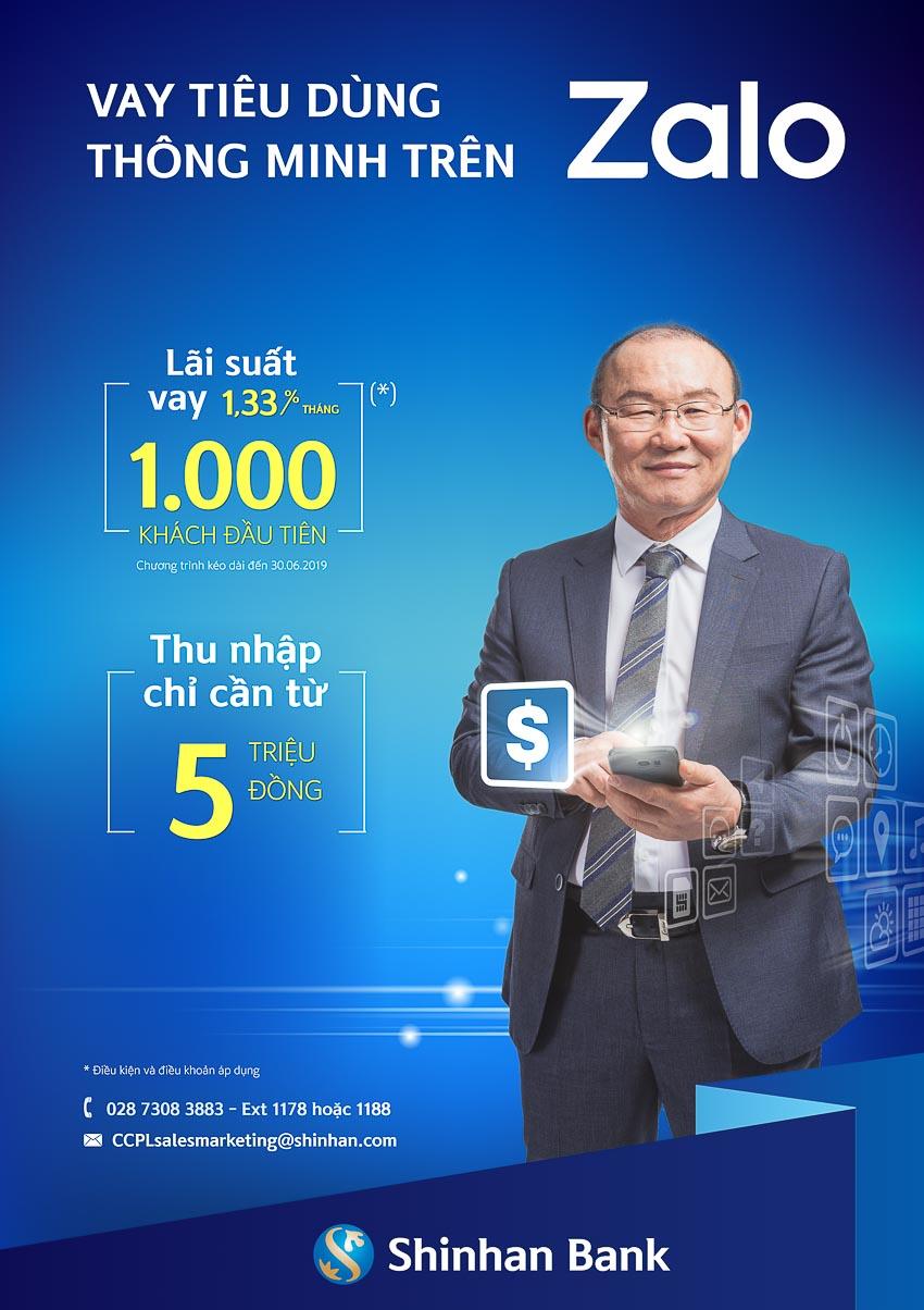 Ngân hàng Shinhan khai dịch vụ vay tiêu dùng thông minh trên Zalo